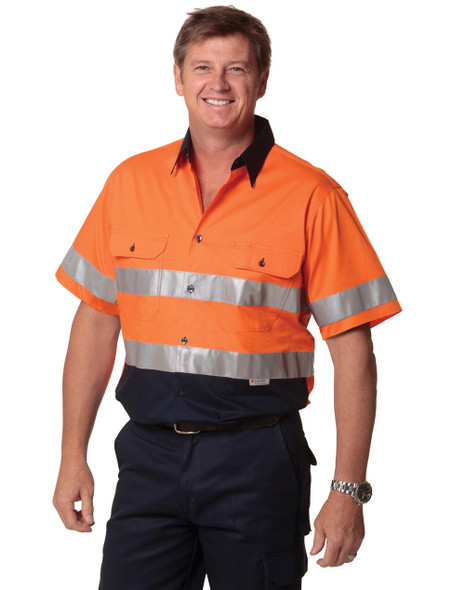 SW59 - Mens High Visibility Cool-Breeze Cotton Twill Safety Shirt with Reflective 3M Tapes