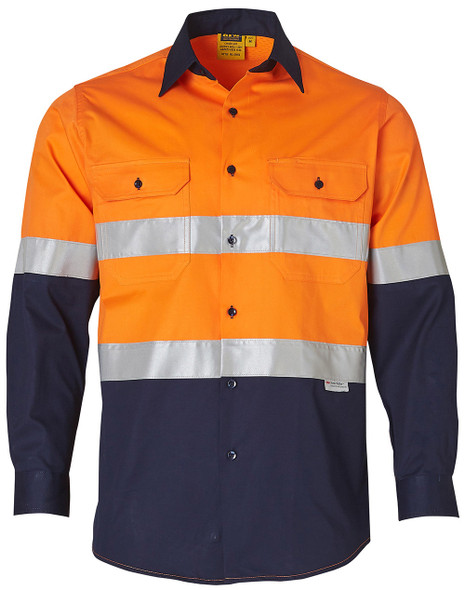 SW60 - Men's High Visibility Cool-Breeze Cotton Twill Safety Shirt With Reflective 3M Tapes