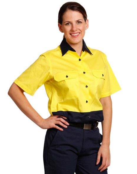 SW63 - Ladies High Visibility Cool-Breeze Cotton Twill Safety Shirts