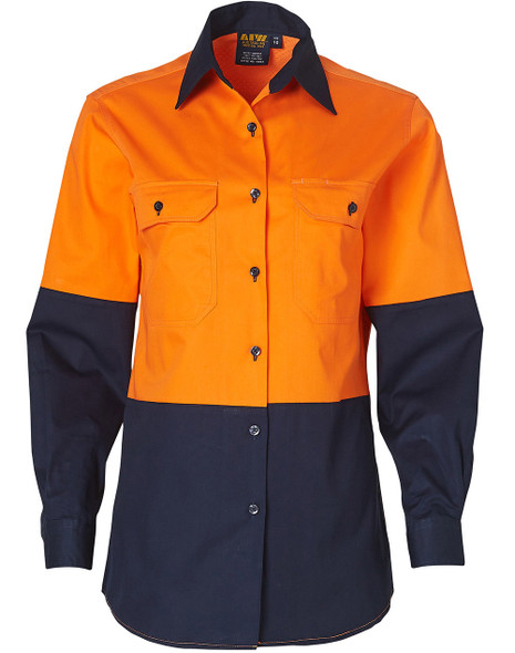 SW64 - Ladies High Visibility Cool-Breeze Cotton Twill Safety Shirts