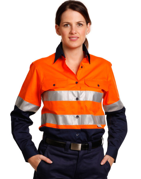 SW65 - Ladies High Visibility Cool-Breeze Cotton Twill Safety Shirts With Reflective 3M Tapes