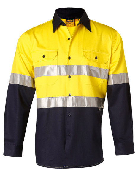 SW68 - Ladies High Visibility Cotton Drill Safety Shirt with Reflective 3M Tapes