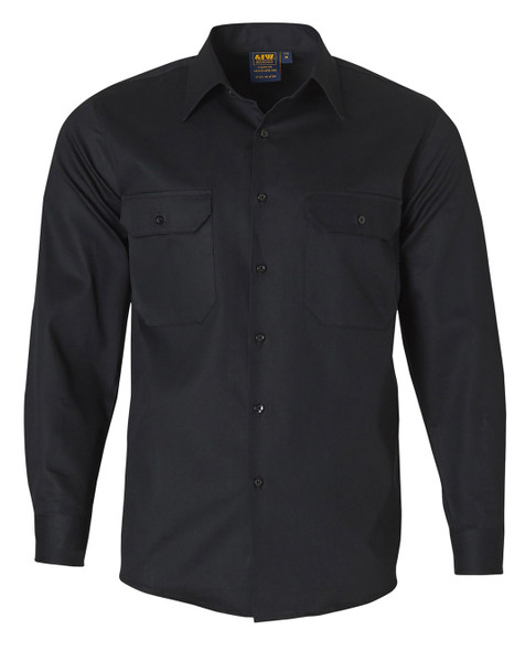 WT04 - Cotton Drill Long Sleeve Work Shirt