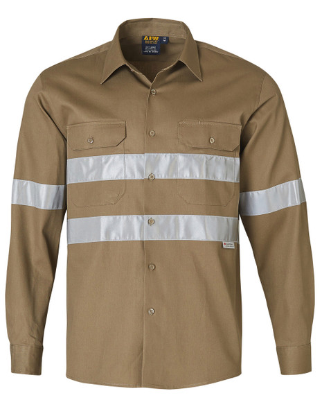 WT04HV - Cotton Drill Long Sleeve Work Shirt with 3M Tapes