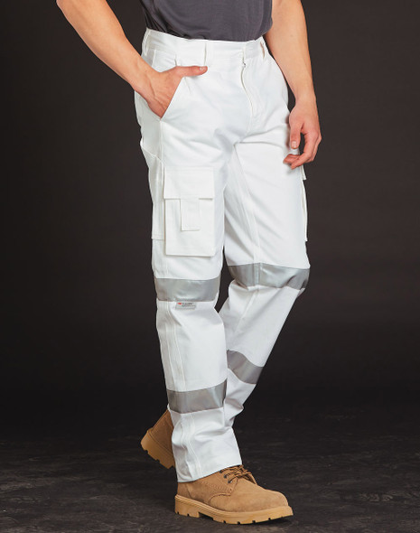 WP18HV - Mens White Safety pants with Biomotion Tape Configuration
