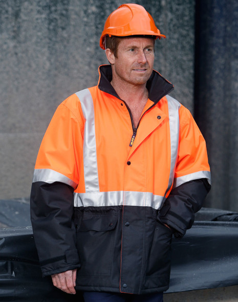 SW28A - Hi-Vis Two Tone Rain Proof Jacket with Quilt Lining