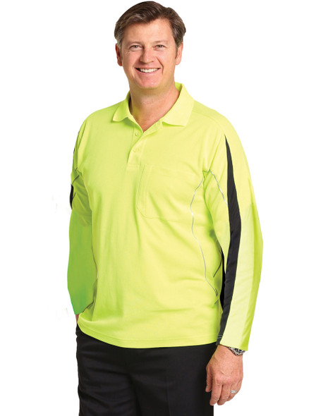 SW33A - TrueDry Hi-Vis Long Sleeve Polo with Reflective Piping