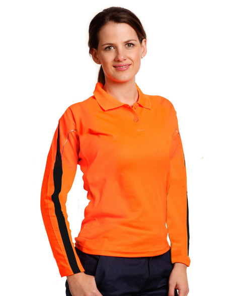 SW34A - Ladies TrueDry Hi-Vis Long Sleeve Polo with Reflective Piping