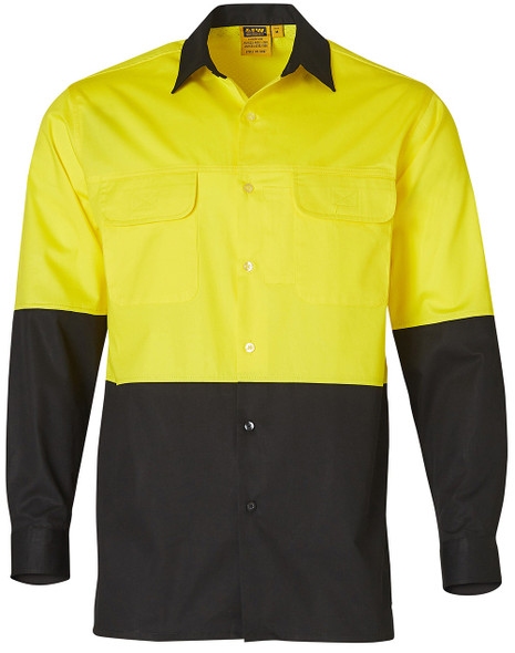 SW67 - Mens Two Tone Cool Breeze Long Sleeve Cotton Safety Shirt
