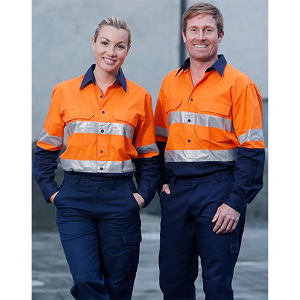 Orange-Navy - SW69 Long Sleeve Safety Shirt
