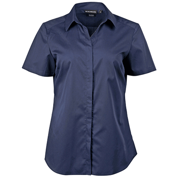 Navy - M8110S Barkley Ladies Taped Seam Short Sleeve Shirt - Winning Spirit