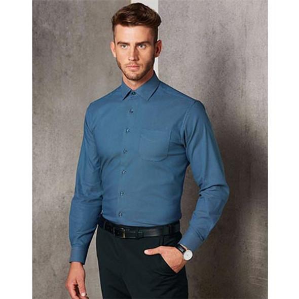 M7400L - Mens Ascot L/S Dot Jacquard Stretch Shirt - Display