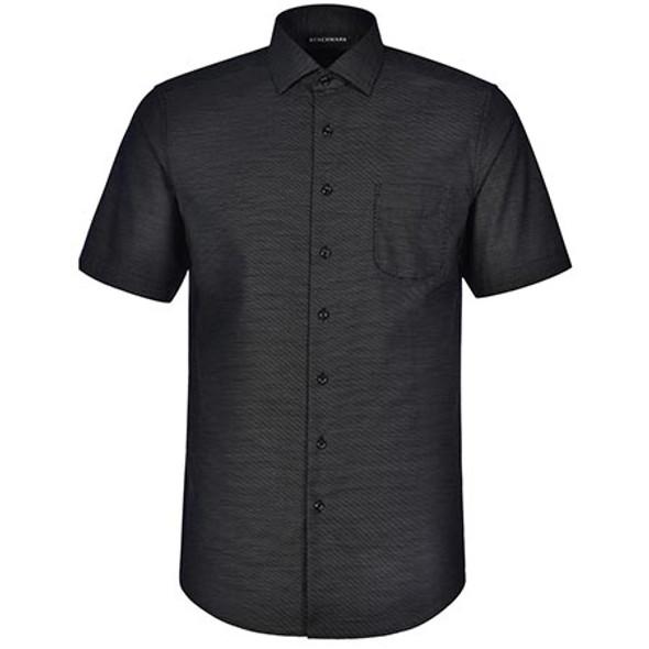 Black - M7400S Mens Ascot Dot Jacquard Short Sleeve Shirt - Winning Spirit
