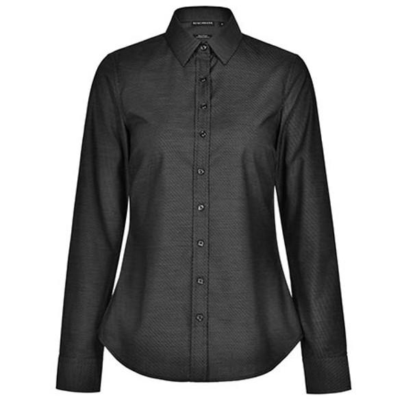 Black - M8400L Ladies Ascot Dot Jacquard Long Sleeve Stretch Shirt - Winning Spirit