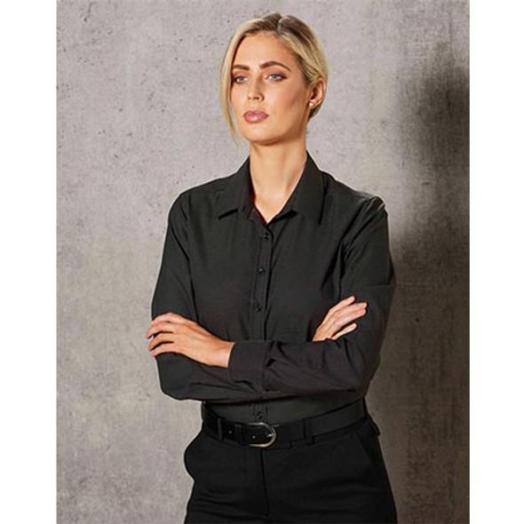 M8400L Ladies Ascot Dot Jacquard Long Sleeve Stretch Shirt - Winning Spirit