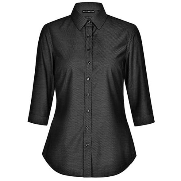 Black - M8400Q Ladies Ascot Dot Jacquard 3/4 Sleeve Stretch Shirt - Winning Spirit