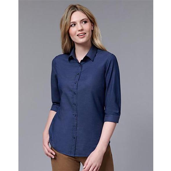M8400Q Ladies Ascot Dot Jacquard 3/4 Sleeve Stretch Shirt - Winning Spirit