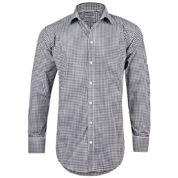 Black-White - M7300L Mens Gingham Check L/S Shirt w/ Roll-Up Tab Sleeve - Benchmark