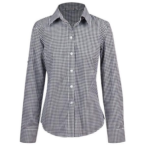 Black-White - M8300L Ladies Gingham Check L/S Shirt w/ Roll-Up Tab Sleeve - Benchmark