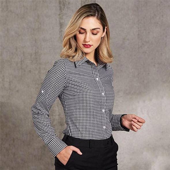 M8300L Ladies Gingham Check L/S Shirt w/ Roll-Up Tab Sleeve - Benchmark