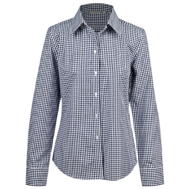 Navy-White - M8300L Ladies Gingham Check L/S Shirt w/ Roll-Up Tab Sleeve - Benchmark