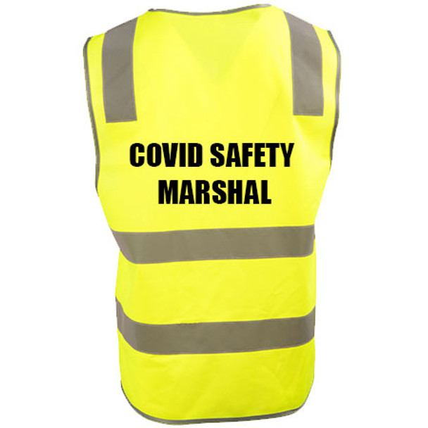Yellow - SW43 - COVID MARSHAL Vinyl Transfer Safety Vest with Shoulder Tape