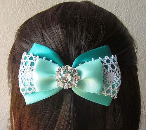 Teal and Aqua Satin and Lace Bow with Bling