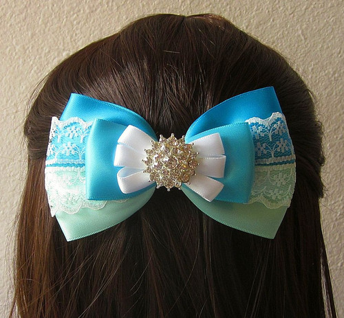 Turquoise, Aqua and White Satin and Lace Bow