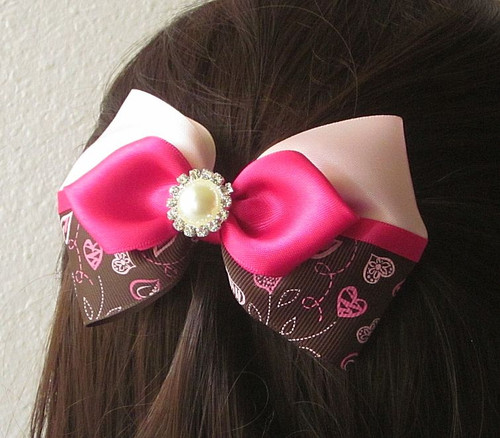 Brown and Pink Layered Bow with Hearts