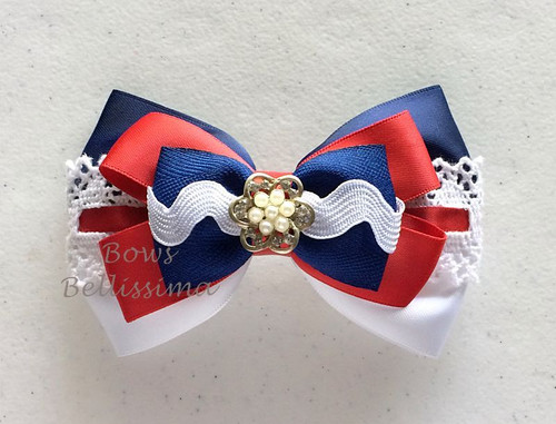 Red White and Blue Layered Hair Bow, Patriotic, Nautical
