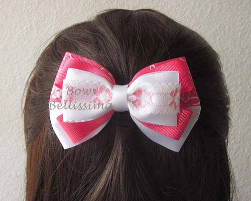 Layered pink and white floral bow
