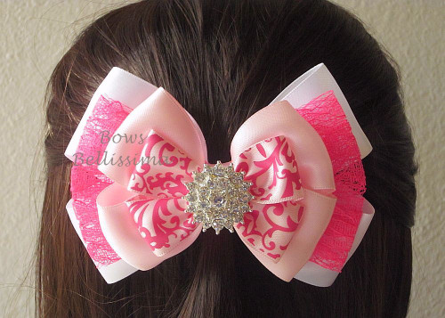 Pink and White Layered Satin and Lace Bow with Rhinestone