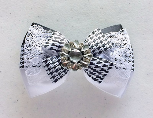 Black and White Layered Bow with Lace and Rhinestone