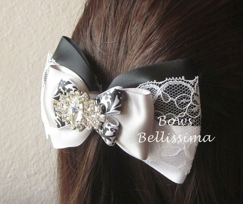 Black, White and Gray Layered Bow with Damask and Lace