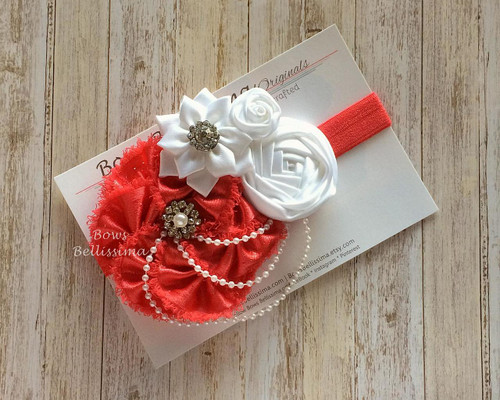 Fancy Red and White Flower Headband, Upcycled Selvedge and Satin