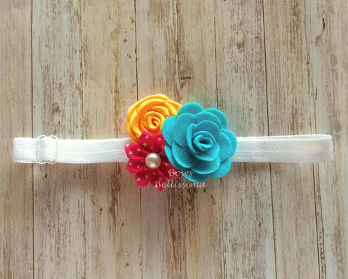 Flower Cluster Adjustable Headband with Turquoise Rose, Yellow and Dark Pink Flowers