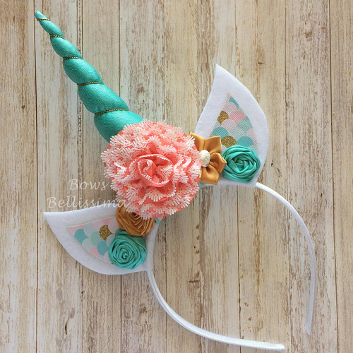 Unicorn Headband Dark Aqua, Coral, Gold and White - Free Shipping