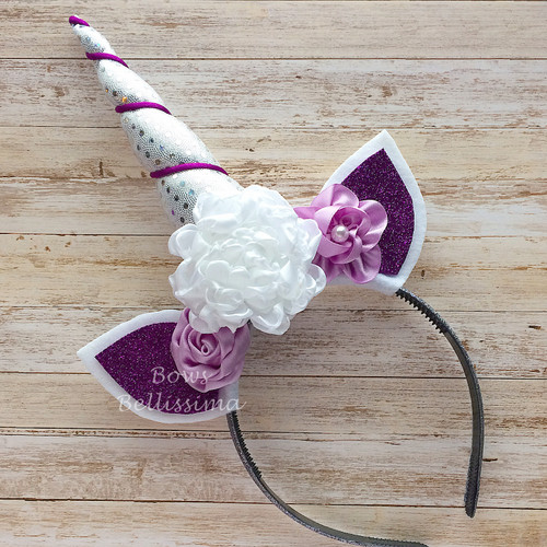 Unicorn Headband, Silver, White and Purple