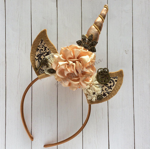 Unicorn Headband, Steampunk, Golden Tans and Browns - Free Shipping