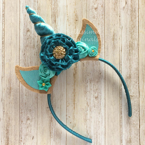 Unicorn Headband Teal Velvet Horn with Dark Aqua and Teal Flowers