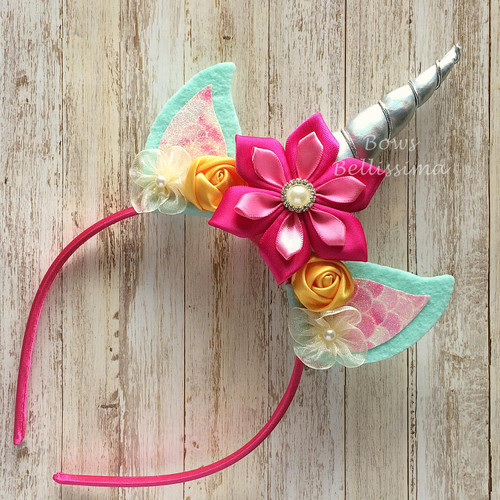Unicorn Headband Silver Horn with Mint Ears, Pink and Yellow Flowers