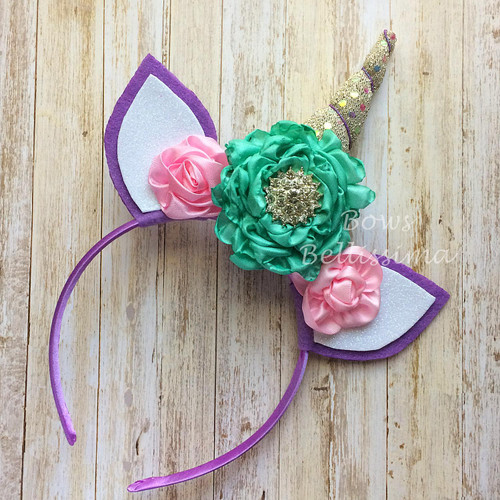 Unicorn Headband Gold Iridescent Dots Horn, Aqua and Pink Flowers, Purple Ears - Free Shipping