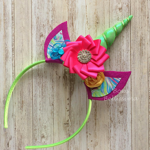 Unicorn Headband Neon Green with Bright Pink, Purple, Yellow and Turquoise - Free Shipping