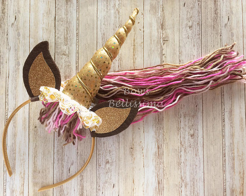 Unicorn Headband with Yarn Mane, Pink, Brown and Gold - Free Shipping