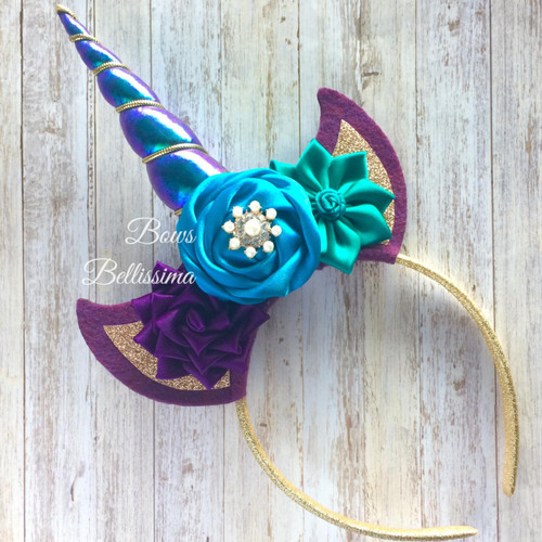 Unicorn Headband Purple, Turquoise and Jade - Free Shipping