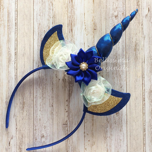 Unicorn Headband - Cobalt Blue with Flowers - Free Shipping