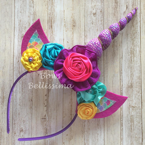 Unicorn Headband Purple Scales  with Flowers - Free Shipping