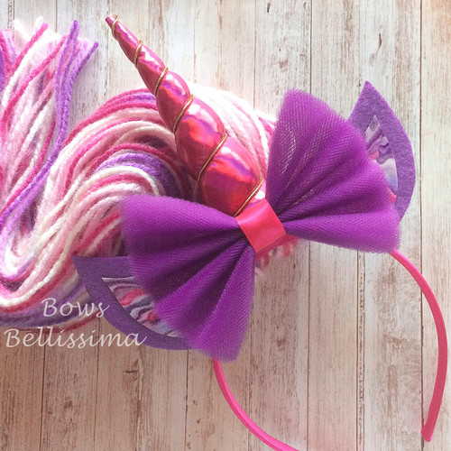 Unicorn Headband Magenta and Purple with Tulle Bow and Yarn Mane - Free Shipping