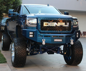 "Base Bumper with sensor provisions. Clevis Mounts with Royal Hooks. Rigid Industries 10"" E-Series in the license plate area. Two Rigid Industries 4"" E-Series per side (Horizontal)."