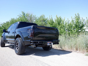 Raptor Rear bumper-Rigid Industries SR-M lights, back up sensors, with factory tow hooks.